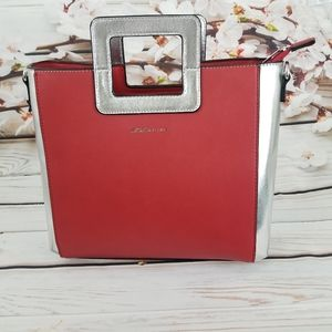 BCBG Generation red and silver color block bag